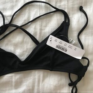 J CREW NWT BLACK STRAPPY FRENCH BIKINI TOP XS